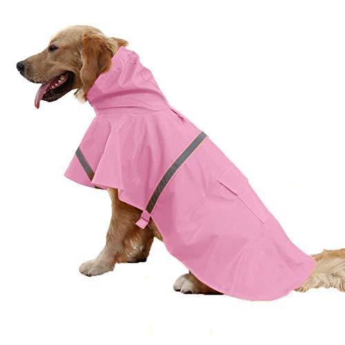 Tineer Einstellbare Wasserdichte Haustier Hund Mit Kapuze Regenmantel Reflektierende Hund Regen Mantel Jacke Hund Regen Kleidung für Kleine Mittelgroße Hunde (L, Rosa) -