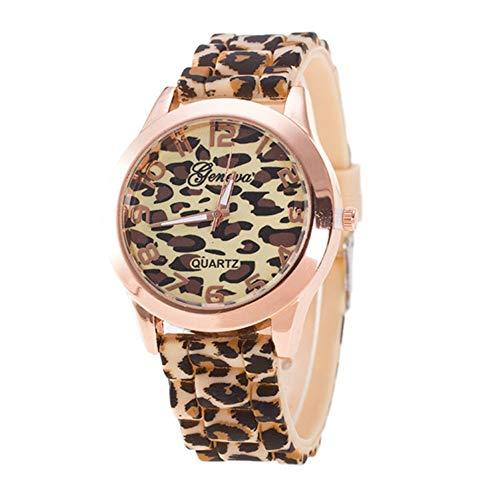 Jiangchengwen Unisex Genf Leopard Quarz Analog Armbanduhr mit Silikon-Armband Einzigartig Mode lässige (Gold)