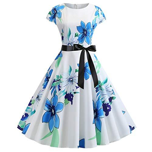 Vectry Damen Vintage Kleider Kurzarm Elegant Blumenmuster