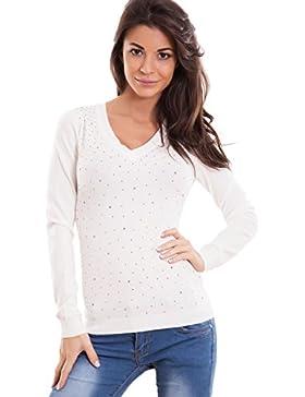 Toocool - Maglione donna pullover maglia scollo V strass elasticizzato sexy nuovo XD-1664