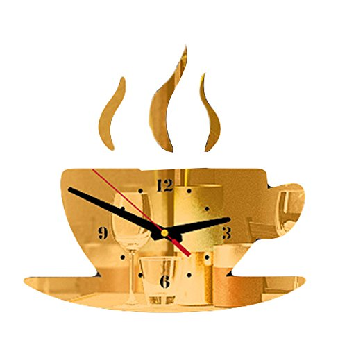 KANGMOON Kaffee Form abnehmbare DIY acryl 3D Spiegel Digitale acryl modernes Design kreative wandaufkleber Wohnzimmer Schlafzimmer büro Aufkleber Dekoration liefert Geschenk (Gold)
