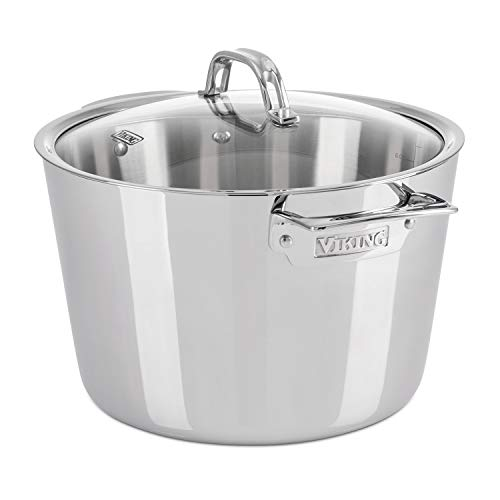 Viking Contemporary 3-Ply Stainless Steel Stockpot with Lid, 8 Quart All Clad 8 Quart Stock Pot