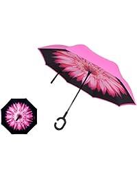 Manfâ Paraguas invertido innovador, paraguas invertido doble de la capa,paraguas reverso de los coches creativos rectos impermeables y parados Pink Flower