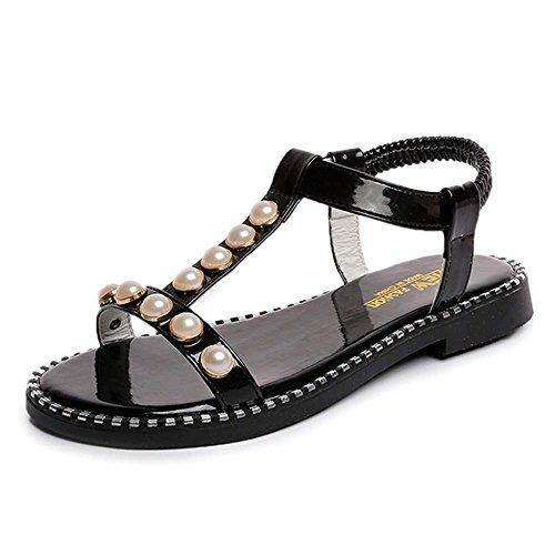 Estate Sandali Versione coreana di perle piatte con sandali femmina casual scarpe romane stile di svago Colore / formato facoltativo Nero