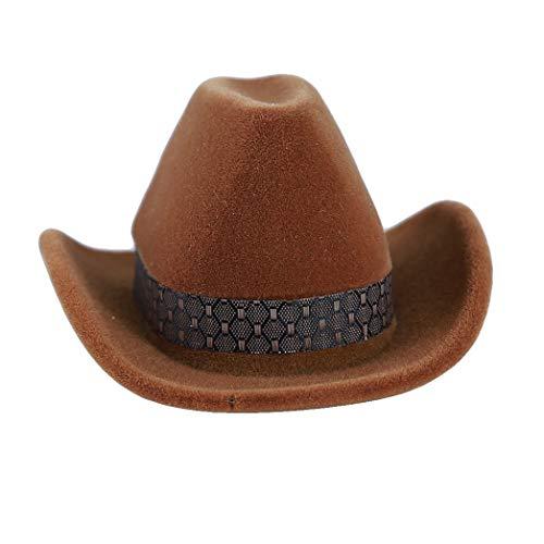 Buelgma Persönlichkeit Cowboy Hut Form Ringe Boxen Klassische Kreative Schmuck Display Aufbewahrungskoffer Schmuckschatulle Für Engagement (Braun) -