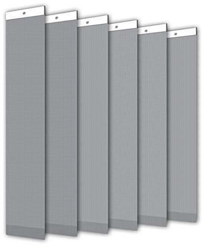 Der Jalousienladen Einzellamellen für Lamellenvorhang, Breite 89 mm, Länge 250 cm, lichtdurchlässig/Blickdicht, grau, 6er Pack