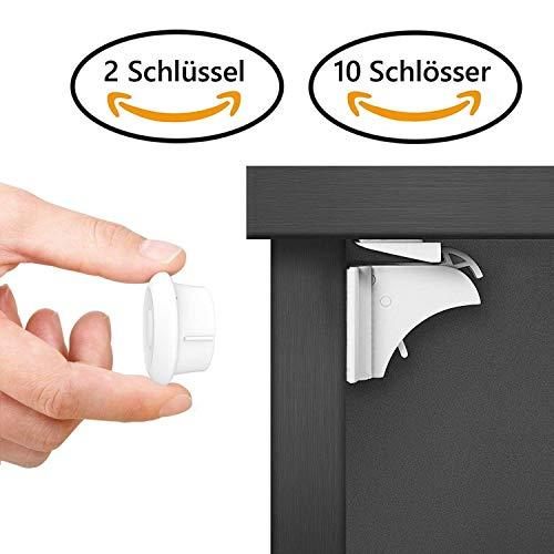 Dokon Baby Sicherheit Magnetisches Schrankschloss, die unsichtbare Kindersicherung für Schranktür und Schubladen, ohne Bohren und Schrauben Sicherheitssets (10 Schlösser + 2 Schlüssel)