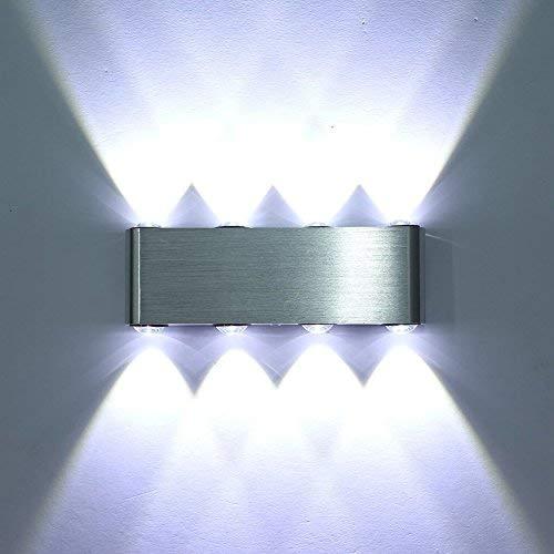 Sisviv lampada da parete applique interno moderna 8w in alluminio con 8 led per soggiorno camera da letto negozi ristoranti