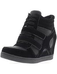 Zapatillas de cuña de levantamiento negro en tacón de 7,5 cm