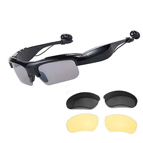 WOTUMEO Sport Digital Gläser Bluetooth Sonnenbrille Drahtloser Bluetooth Kopfhörer Stereo Musik Ohrhörer Freisprech Fahrbrille Sportbrillen Radsport-Brillen + Polarisierte Linsen