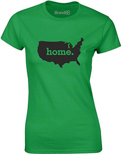 Brand88 - Home, Gedruckt Frauen T-Shirt Grün/Schwarz