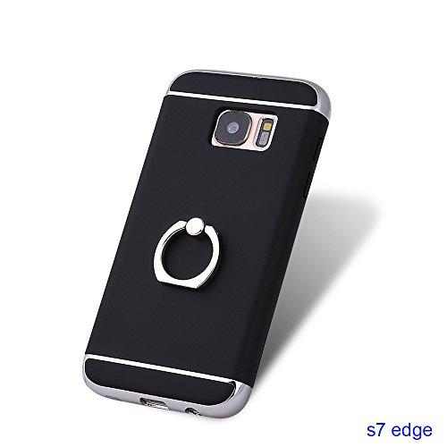 xhorizon FM8 3 in 1 ultra dünn hart Schutz Stilvoll Tasche für Samsung Galaxy S7 Edge mit 360 Grad Drehbar Ring Ständer mit einem 9H Ausgeglichen Glas Film Schwarz mit einem 9H temperierten Glasfilm