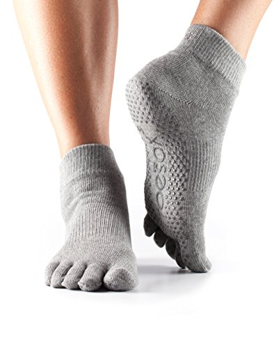 Zehensocken Full Toesox with GRIP ANKLE in Heather Grey (Grau) in M