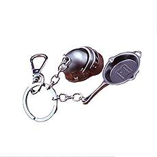 The Purple Tree PUBG Keychain with PAN and Level 3 Helmet - 1 pc, PUBG Keychain, pubg Merchandise, Gift for pubg Lovers, pubg Gift, Gift for Friends, PUBG Pan