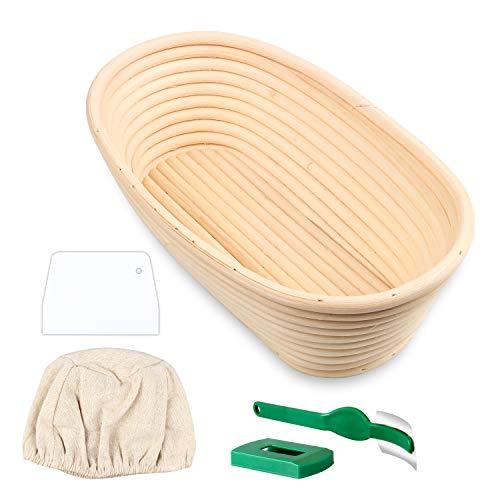 Semlos Brottestkorb, handgemachte Rattan Bambus Teigkörbe für Banneton Brotbacken (Oval)