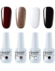 Vishine Lot de 4 Vernis à Ongles Gel Semi Permanent Blanc Noir Rouge foncé et Rose Or Soak Off UV LED Gel Nail Polish Nail Art Kit classique