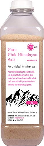 PINK SUN Pink Himalayan Salt Fine 1kg Crystals Gluten Free Pure Natural Edible Food Grade Large Granulated Rock Chunks Cooking Vegetarian Vegan Bath Body Scrub Pakistan 1000g Bulk