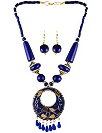 Arittra Blue Brass Pendant With Blue,Golden Beads Ethnic\Traditional\Tribal\ Antique Style Necklace Set With Earrings...