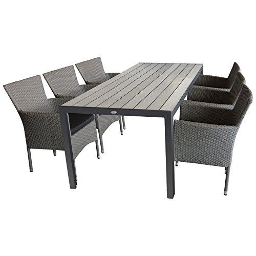 Multistore 2002 7tlg. Garten Sitzgruppe Set - Gartentisch, 205x90cm, Polywood-Tischplatte + 6X Gartensessel, Polyrattan, stapelbar, Grau-Meliert, inkl. Sitzkissen