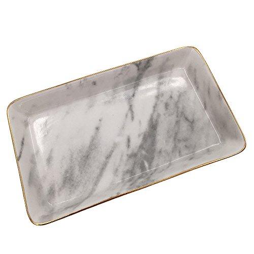 Schmuck-teller Tablett (rechteckig aus Keramik Servieren Speisen, Schmuck Kosmetik Tablett Organizer Storage Teller, weiß, Large)