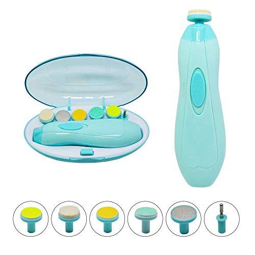 Babypflege-Set, Baby Nagelfeile Elektrisch 6 in 1 Maniküre Pediküre Set Batteriebetrieben Baby Nagelknipser Set Babypflege-Set Nagel-Poliermaschine und LED Licht (Blau)