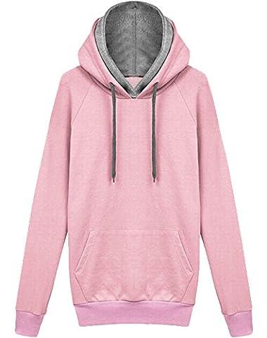 Frauen Kapuzenjacke Herbst Winter Kleidung lose Jacke Kaschmir-Pullover Mantel (EU40-XL, Rosa)