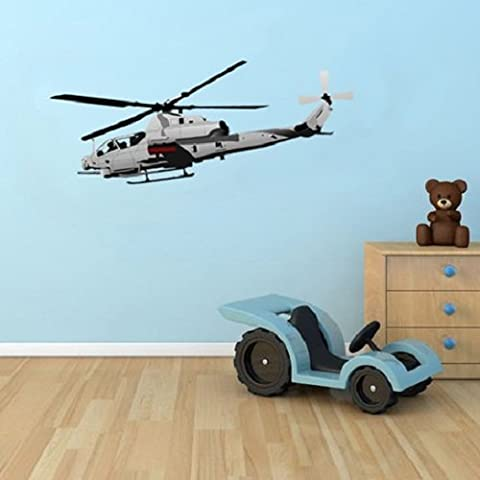 Large Military Chopper Wall Stickers, Helicopter style wall graphics, wall decals, Peel and stick wall art