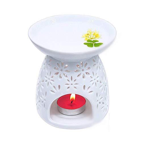 fourseasons Aromaterapia Esencial Quemador de Aceite Lámpara Cerámico Esenciales de aromaterapia Cerámica Tenedor de luz de Té difusor aromaterapia aceites Esenciales Blanco