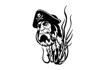 Le matelot pirate , pirates autocollant - 50cm Hauteur - 50cm Largeur - noir vinyle
