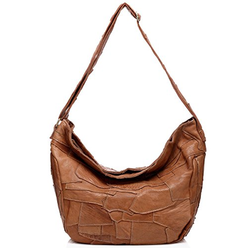 ZPFME Frauen Handtasche Damen Tasche Rindsleder Nähen Messenger Bag Mädchen Party Retro Damen Mode Schultertasche Große Tasche Yellow
