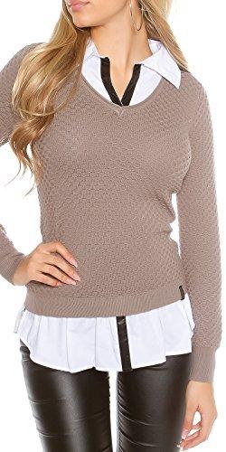 Koucla femmes 2 en 1 chemise blouse pull pull sweat Structure col en V Cappuccino
