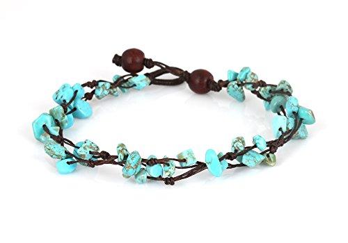 MGD – Blau Türkis Perlen Fußkettchen – Edelstein Fußkettchen – Schöne Handgemachte Mode Schmuck für Damen – Kinder und Jugendliche – JB-0123A