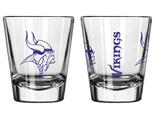 Offizielles Fan Shop Authentische NFL Logo 2oz Schnapsgläser 2er Pack Bundle. Show Team Stolz zu Hause, Ihre Bar Oder an der Heckklappe, Gameday Shot Gläser für Eine Goodnight, Minnesota Vikings