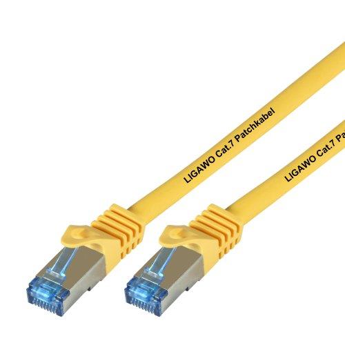 Ligawo Patchkabel Cat.7 S-FTP PiMF RJ45 Cat6A Stecker für Netzwerk/Internet Anschluss (2m) - gelb
