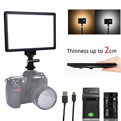 Np-led (VILTROX L116T 5600K / 3300K LED Licht Panel Dimmbare Video Licht Kit für DSLR-Kamera mit NP-F550 Li-Ion-Akku und USB-Ladegerät)