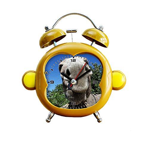 GIRLSIGHT1 Kinderzimmer-Uhr im Affen-Stil, leiser Wecker mit Doppelglocke, Stummschaltung, Quarz, analog, Nacht- und Schreibtischuhr mit Nachtlicht, 143.Esel, Schnauze, Nase, Close, Tier, Haustier - Atomic Digitale Radio Clock