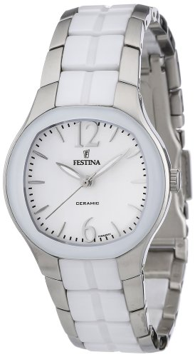 Festina Women's Quartz Watch with White Dial Analogue Display and White Stainless Steel Bracelet F16626/1