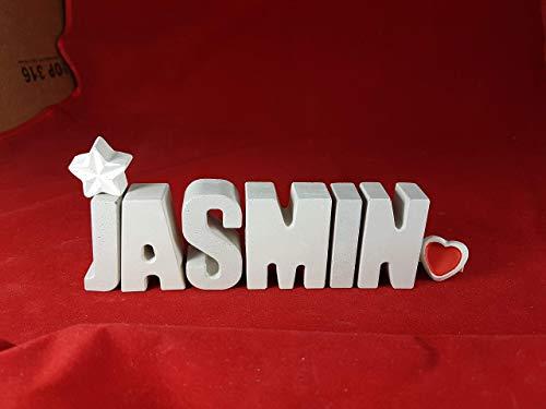 Beton, Steinguss Buchstaben 3 D Deko Namen JASMIN mit Stern und Herzklammer als Geschenk verpackt! Ein ausgefallenes Geschenk zur Geburt, Taufe, Geburtstag oder auch zu anderen Anlässen.