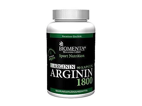 Biomenta L-ARGININ 1800 VEGAN – 1.800 mg L-Arginin-Pulver / Tag – für aktive Frauen und Männer – 90 L-Arginin-Kapseln