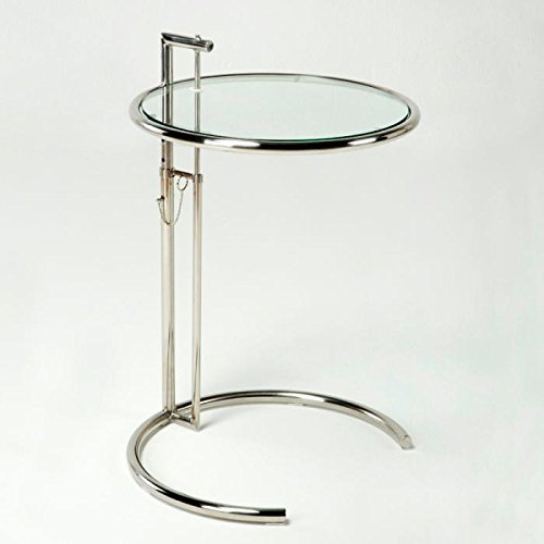 Table basse relevable en verre/métal chrome