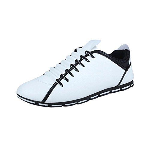 Sneakers Herren Schuhe Stiefelparadies Modische Business Schnürer Outdoor Schneestiefel Schnürhalbschuhe Freizeitschuhe Boots Traillaufschuhe Turnschuhe Sportschuhe LMMVP (Weiß, 42 EU) (Halbschuhe Denim)