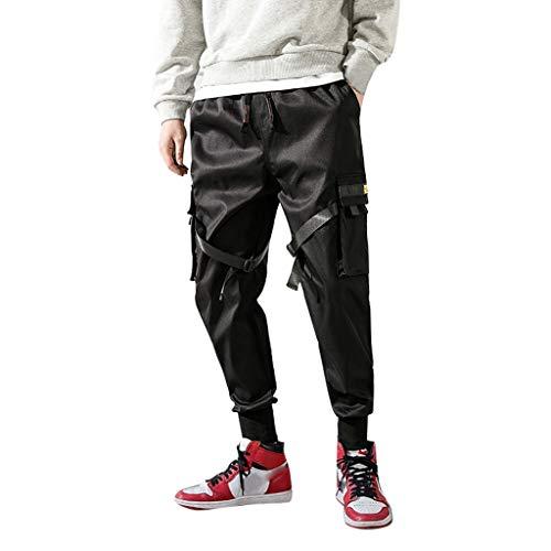 Slim Fit Cargo Chino Hose Männer Hosen Herren Baumwolle Multi-Pocket Sporthosen Jogginghose Freizeithosen Vintage Fitnesshose Outdoors Trainingshose Schwarz Sweatpants(Schwarz.M) - Plus Size Chiffon-robe