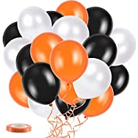 YiRAN 30 Assorted Halloween Balloons Set Including Curling Ribbon/ 23cm / Halloween Trick Or Treat Scary Party Fun - Black,Orange & White Latex Balloons