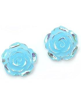Idin Ohrclips - Blaue, glänzende Rosen in AB-Farbe (Regenbogeneffekt) (ca. 18 x 18 mm)