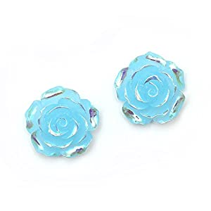 Idin Ohrclips – Blaue, glänzende Rosen in AB-Farbe (Regenbogeneffekt) (ca. 18 x 18 mm)