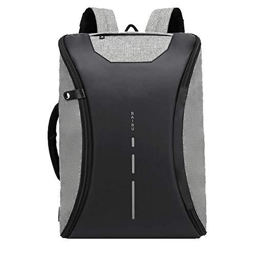 Unbekannt Laptop-Rucksack, wasserdicht mit USB-Ladeanschluss, Business College Outdoor-Reisetasche 15,6-Zoll-Laptop-Rucksack-grey