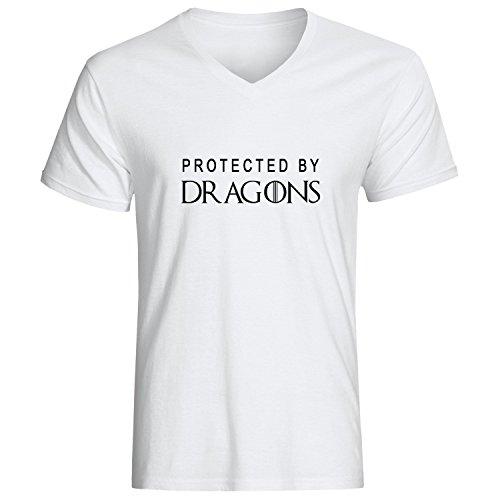 Protected by dragons dope movie slogan Herren baumvolle V-neck t-shirt Weiß