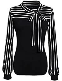 Internet Sexy Femme Chic T-Shirt Tie-Bow Tops Manches Longue Blouse Rayé Femme  Col V Arc en Polyester Chemise Tunique Patchwork Haut… cec5077b1179