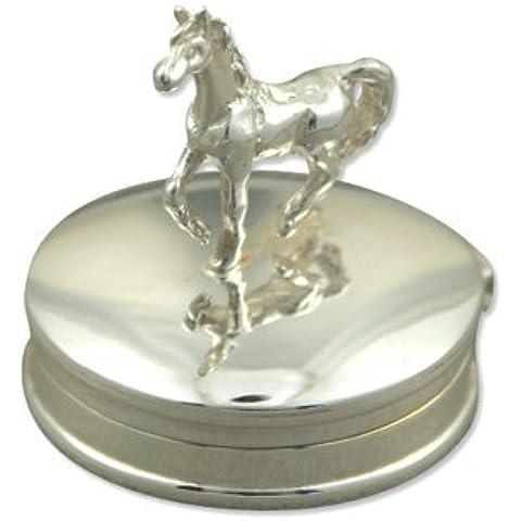 Broche de plata de ley caja joyero de caballo - pastillero - plateado caja de regalo