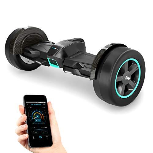 """8.5"""" Premium Hoverboard HX600 mit Slicks und Aluminium Chasis - Deutsche Qualitäts Marke - App Bluetooth Subwoofer - Starker Dual Motor - Offroad Elektro Skateboard Self Balance Scooter (Schwarz)"""